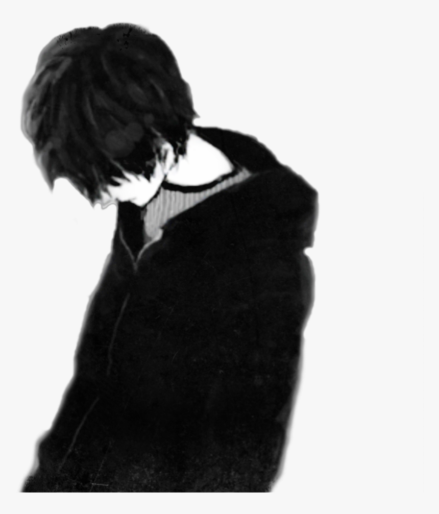 Sad Boy Black Only Me Anime Boy Depressed Sad Anime Boy Hd Png Download Kindpng