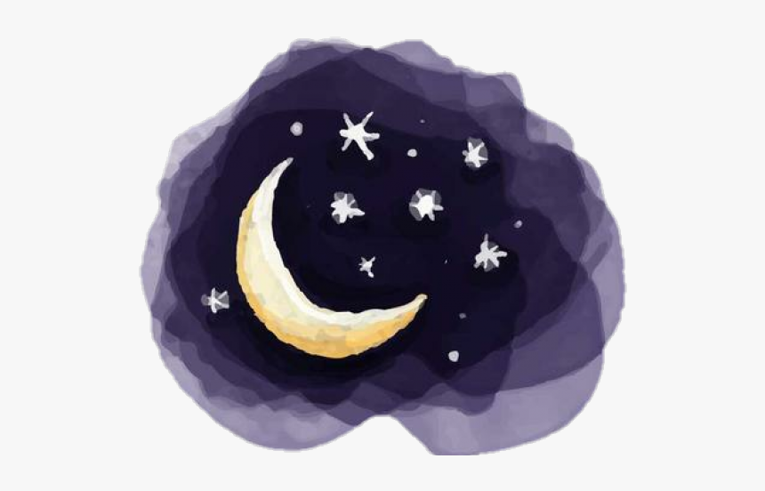 Drawn Night Sky Watercolour - Night Sky Moon And Stars Drawing, HD Png Download, Free Download