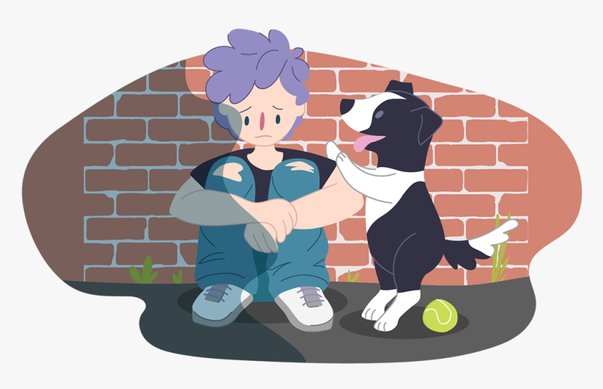 Sad Boy Sitting With A Happy Dog - Depression For Kids, HD Png Download, Free Download