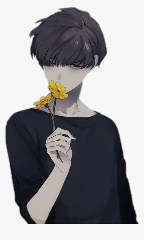 Anime Animeboy Animeboy Flower Yellow Sad Boy Cute Psycho Boy Anime Hd Png Download Kindpng