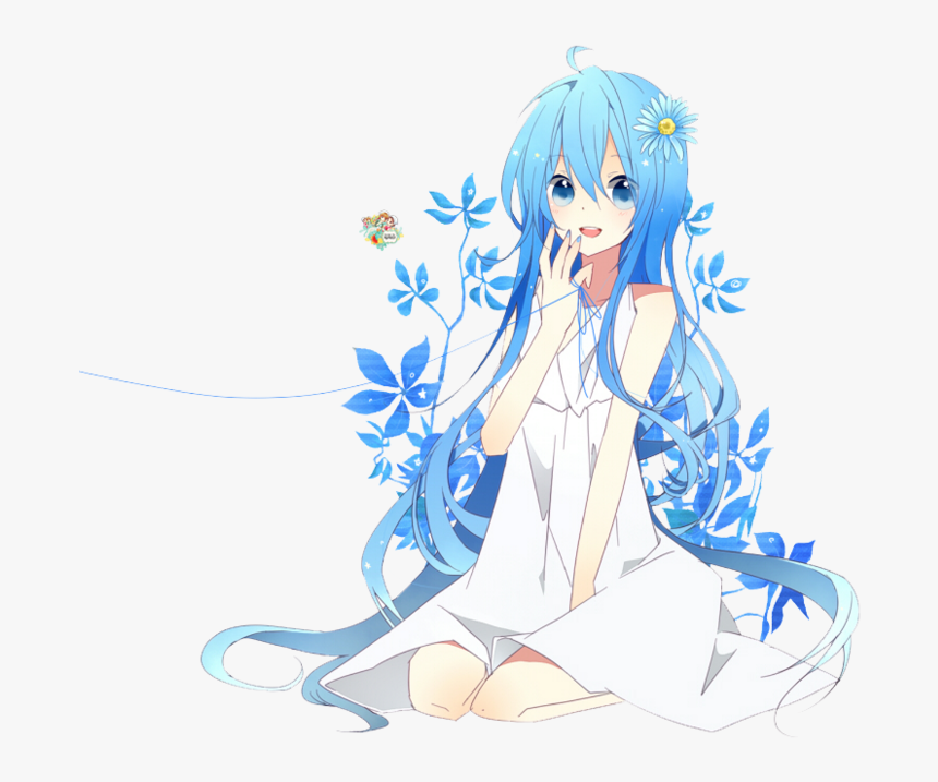 Blue Hair Anime Girl Transparent Background, HD Png Download, Free Download