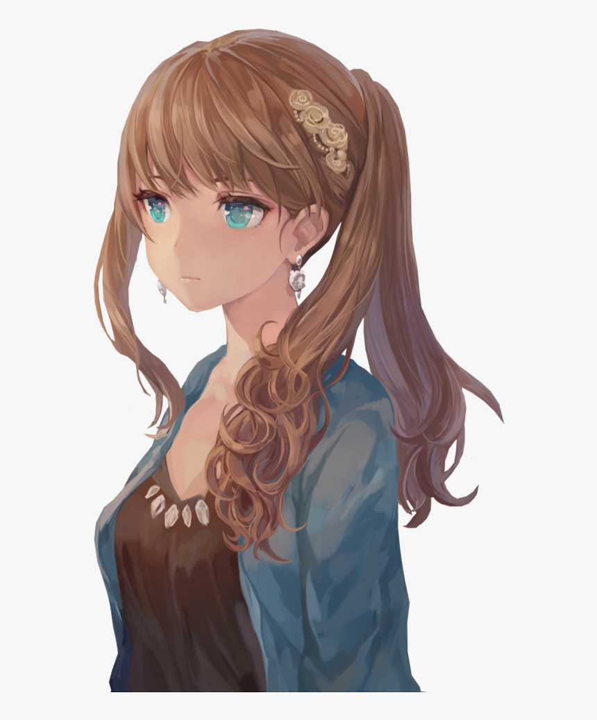 Transparent Curly Hair Clipart - Anime Girl Brown Hair Blue Eyes, HD Png Download, Free Download