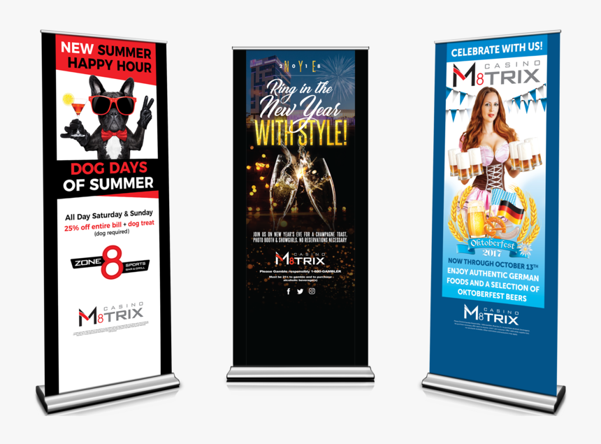 Roll Up Banners Graphic Design Branding Design Print - Casino M8trix, HD Png Download, Free Download