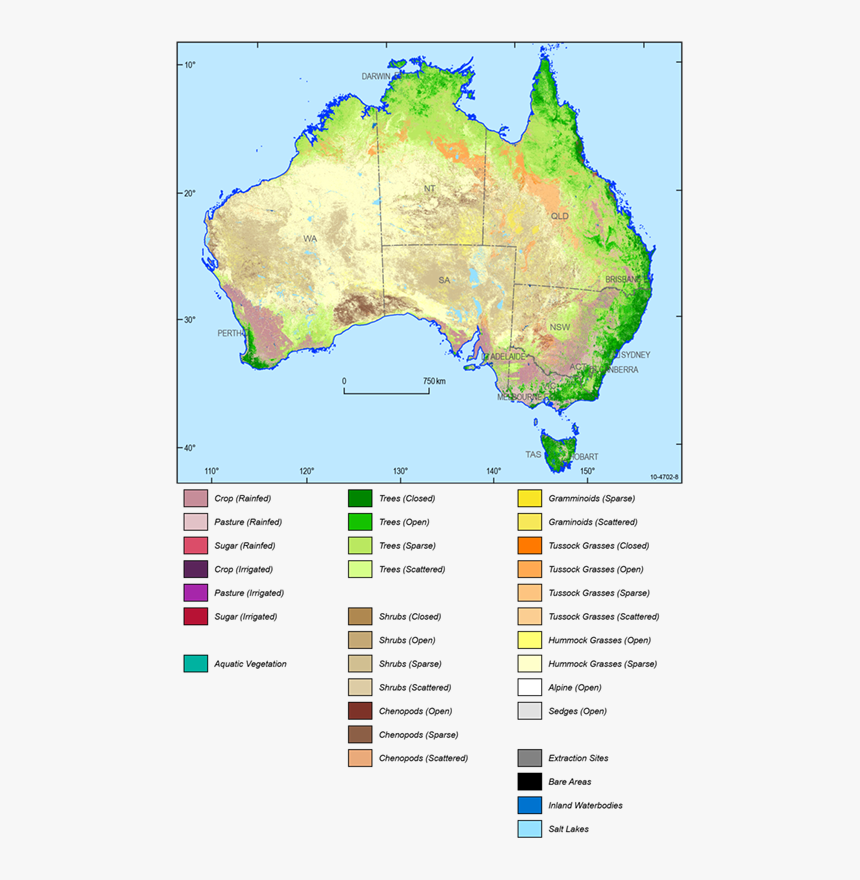 Land Cover Map Of Australia, HD Png Download - kindpng
