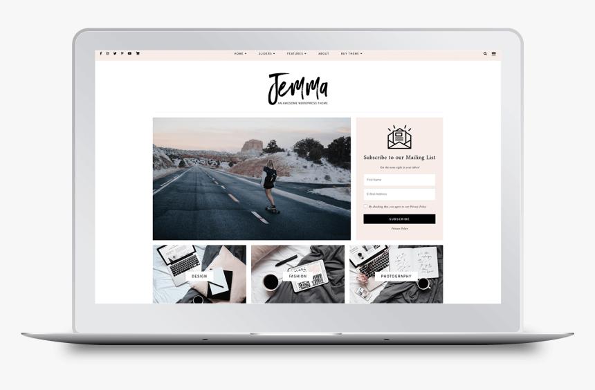 Jemma Wordpress Theme By Georgia Lou Studios - Wordpress, HD Png Download, Free Download