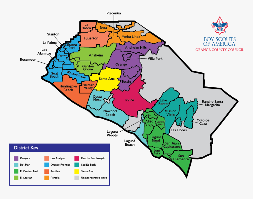 District Meeting Information - Map Of Orange County, HD Png Download, Free Download