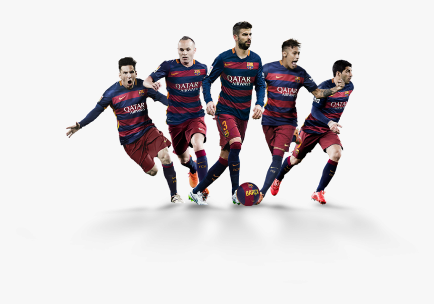 Players From The Fc Barcelona Team Helped Kick Off - Soccer Players Png, Transparent Png, Free Download