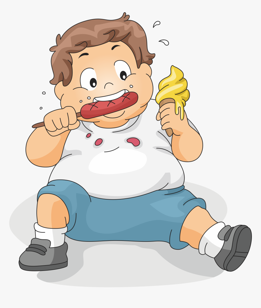 transparent snack clip art - fat kid eating cartoon, hd png download -  kindpng  kindpng