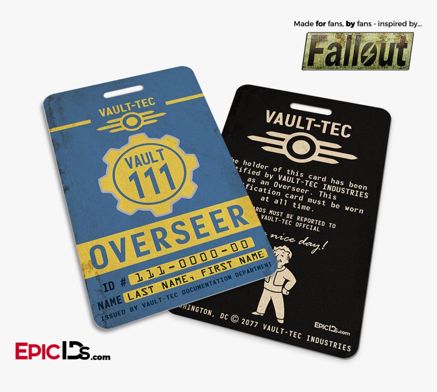 "Overseer ""fallout - Fallout Vault Tec Card, HD Png Download, Free Download"