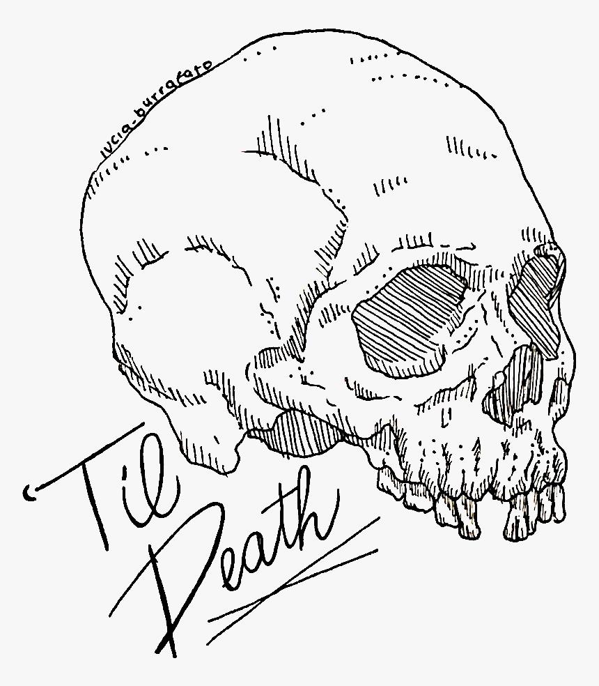 """Image Of """"til Death Skull Sticker - Drawing, HD Png Download, Free Download"""