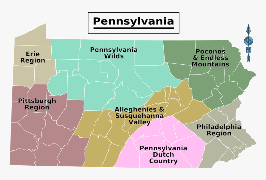 Pennsylvania Regions Map Large Map - Pennsylvania Geographic Regions Map, HD Png Download, Free Download