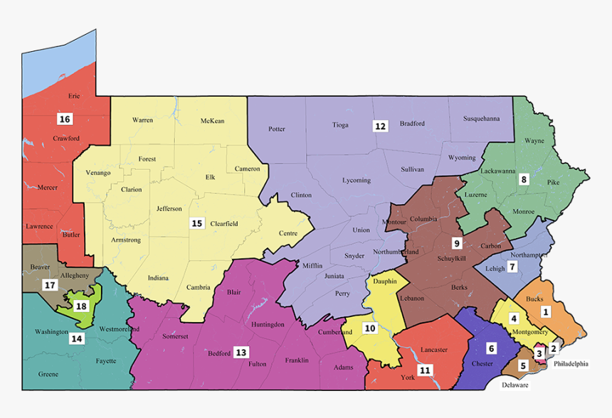Transparent Pennsylvania Outline Png New Pennsylvania Congressional Districts Png Download Kindpng