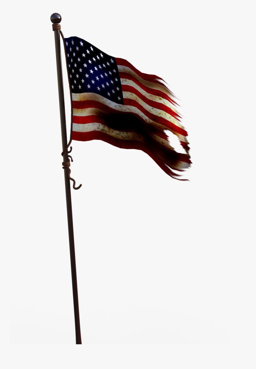 Bandera Con Asta De Estados Unidos Png, Transparent Png, Free Download