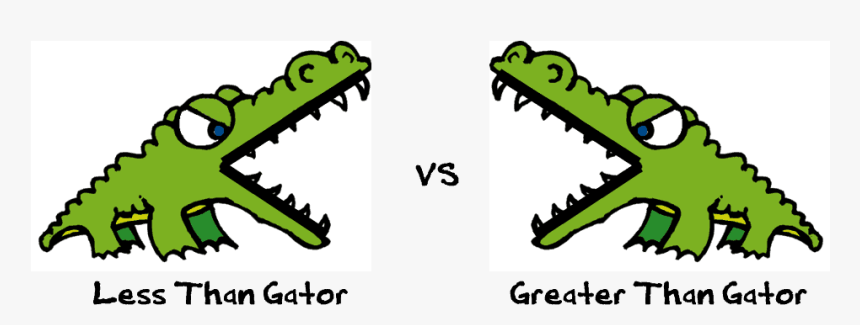 Less Than Vs More Than - Greater Than And Less Than Crocodiles, HD Png Download, Free Download