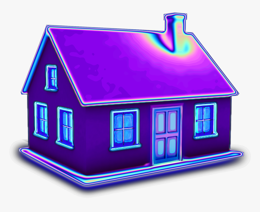 #house #3d #holographic #purple #home #building  #aesthetic - House, HD Png Download, Free Download
