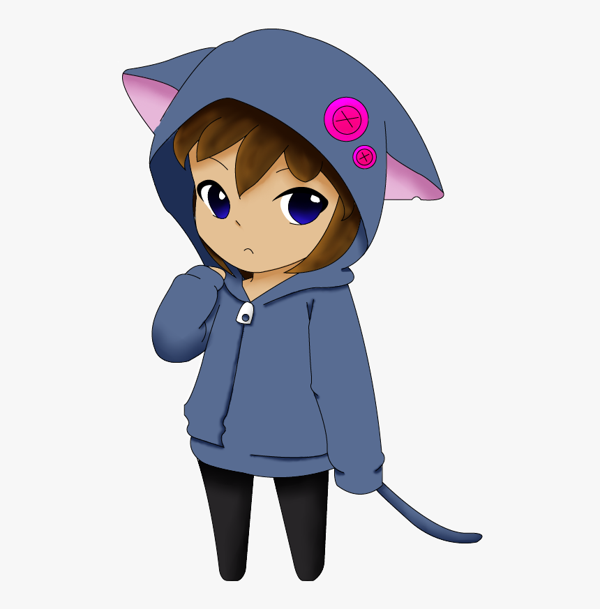 Chibi Girl In A Cat Vest By Sannyvampire On Clipart - Manga Girl Cat Chibi, HD Png Download, Free Download