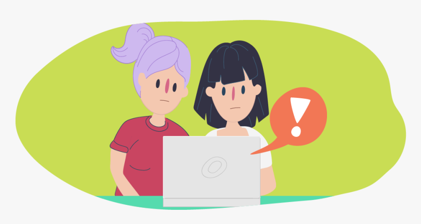 Two Girls Looking At Laptop With Exclamation Point - Cyber Bullying Kids Helpline, HD Png Download, Free Download