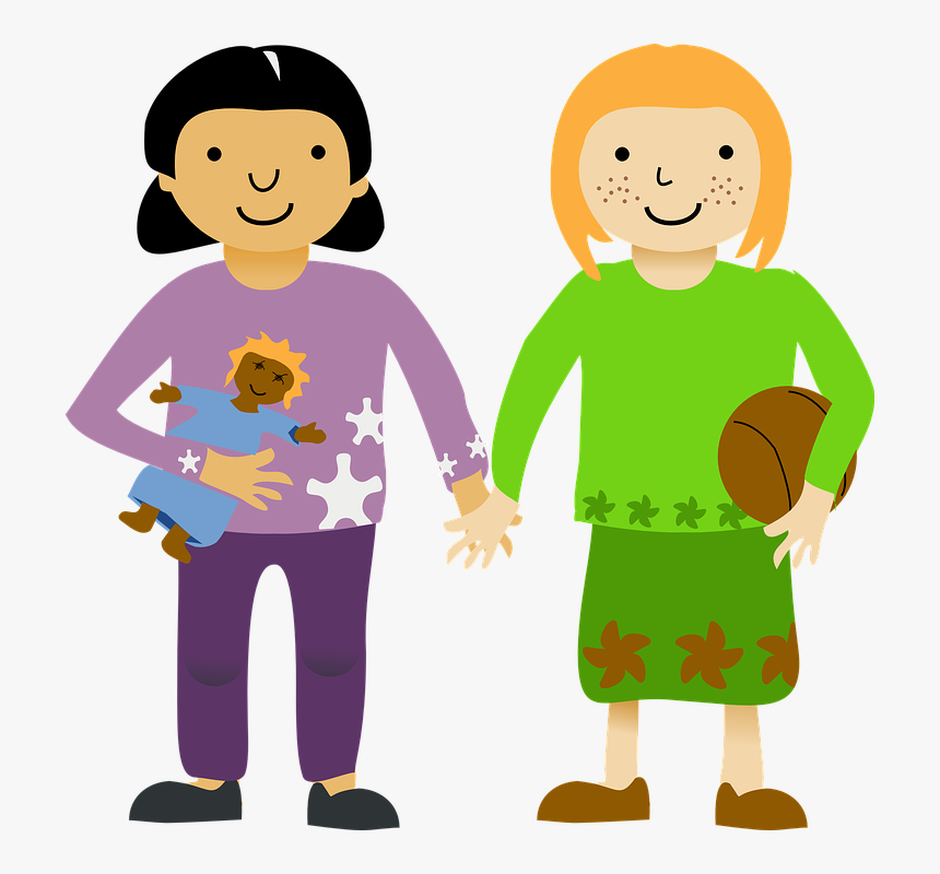 Two Little Girls Svg Clip Arts - Girls Holding Hands Clipart, HD Png Download, Free Download