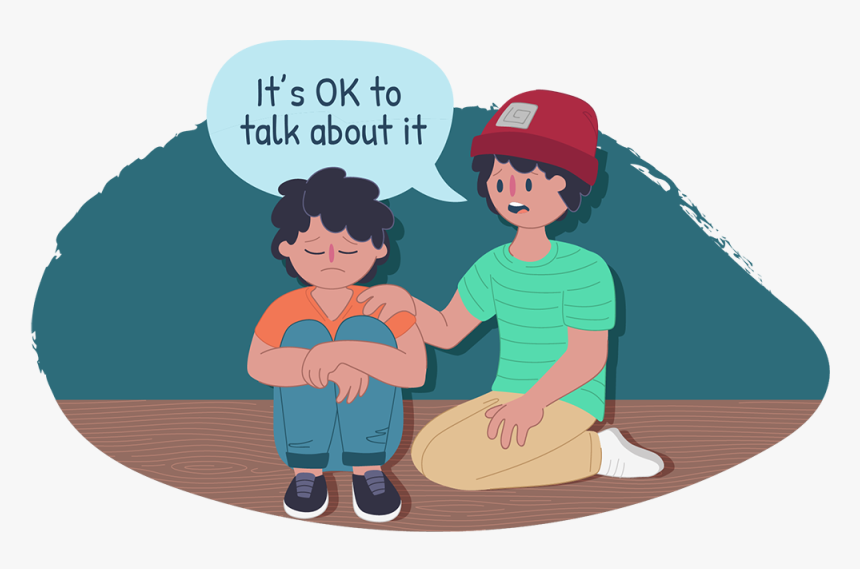 Two Boys Sitting Down Together, One Looks Sad, The - Talk To Someone Animated, HD Png Download, Free Download