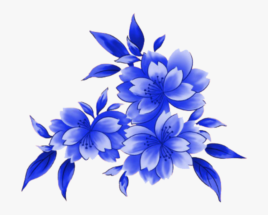 Transparent Blue Lace Clipart - Blue Flower Frame Hd, HD Png Download, Free Download