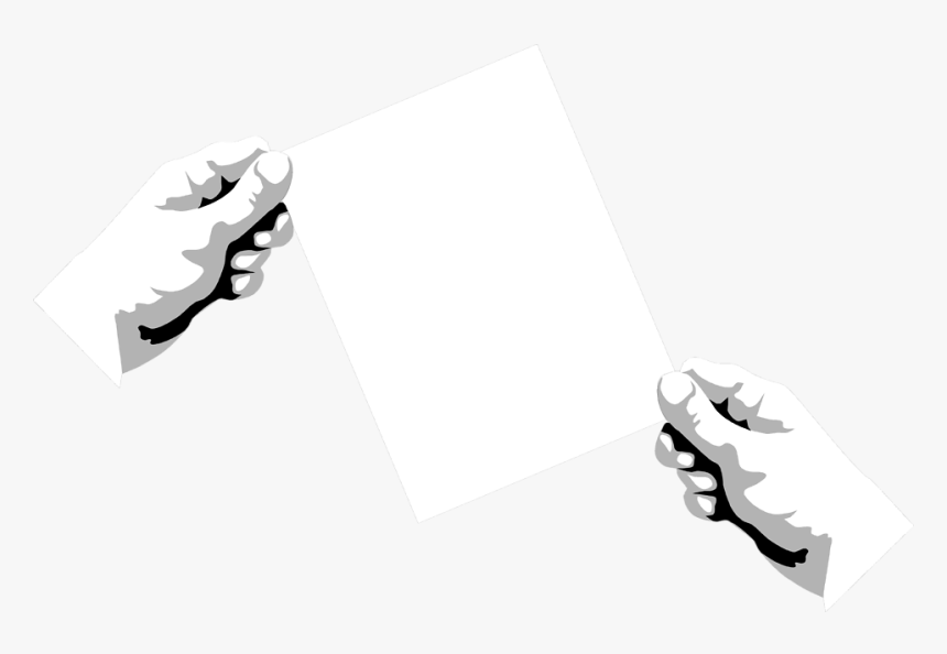 Transparent Hand Holding Card Png - Blank Paper Black And White, Png Download, Free Download