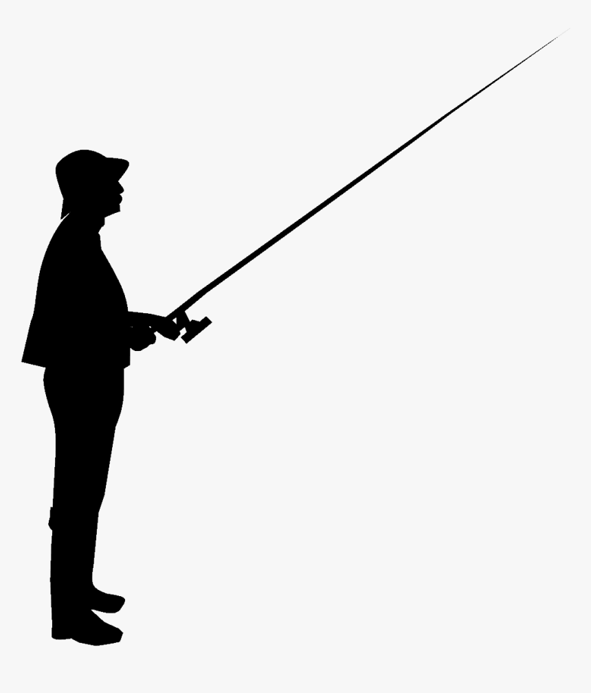 Silhouette Fishing Rods Clip Art - Silhouette Man Fishing, HD Png Download, Free Download