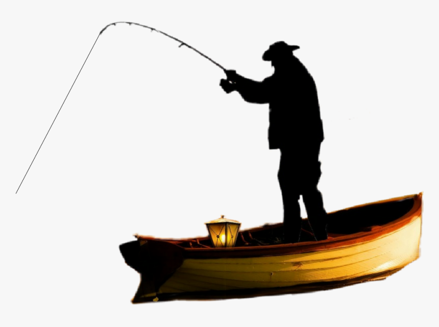 Fisherman Boat Silhouette Fishing Clipart Silhouette Fisherman Hd Png Download Kindpng