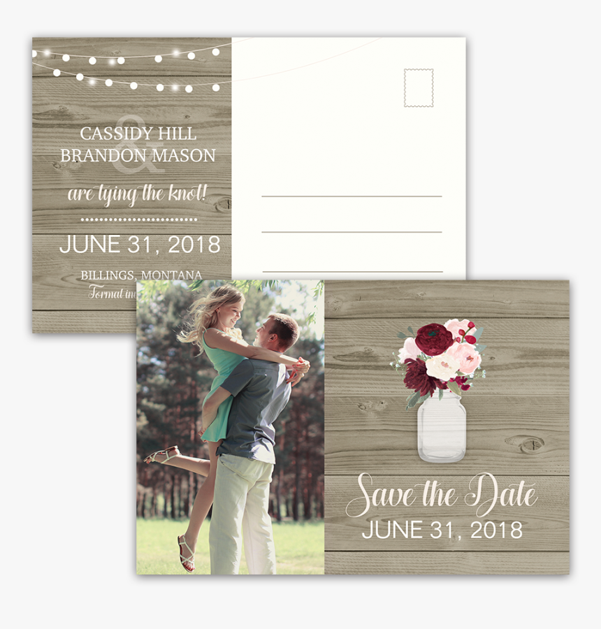 Rustic Postcard Save The Dates Mason Jar With Flowers - L Amour Au Printemps, HD Png Download, Free Download