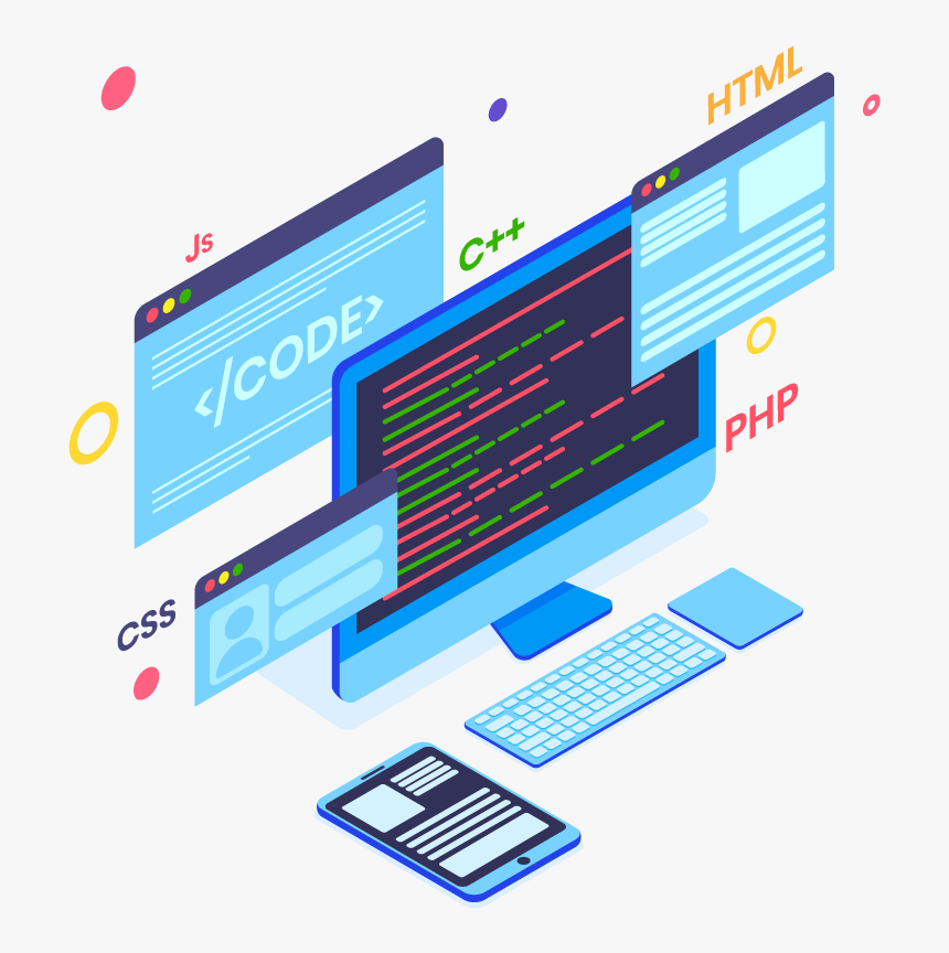 Coding Isometric Illustration, HD Png Download, Free Download