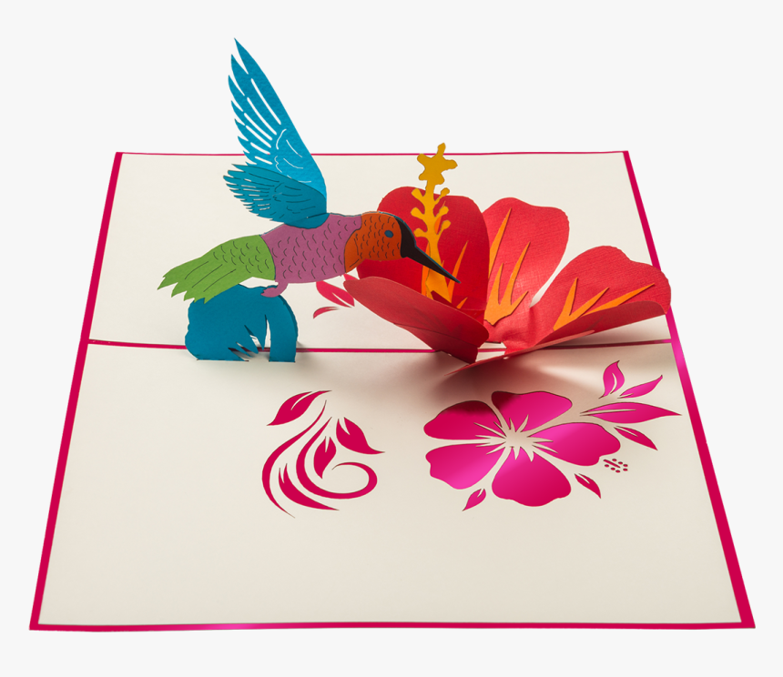Colorful Hummingbird Sipping Nectar From A Giant Red - Hibiscus Pop Up Card, HD Png Download, Free Download