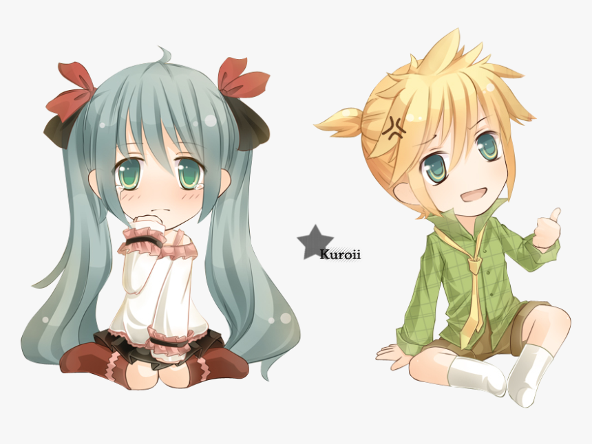 Transparent Rin Kagamine Png - Len Kagamine And Hatsune Miku Chibi, Png Download, Free Download