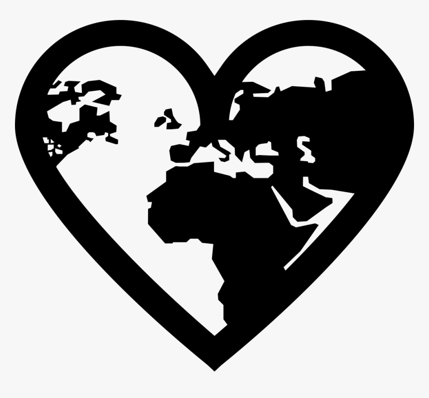 Earth Continents Shapes In A Heart Outline Shape - World Image Black And White, HD Png Download, Free Download