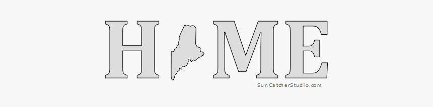 Maine Home Stencil Pattern Shape State Clip Art Outline, HD Png Download, Free Download