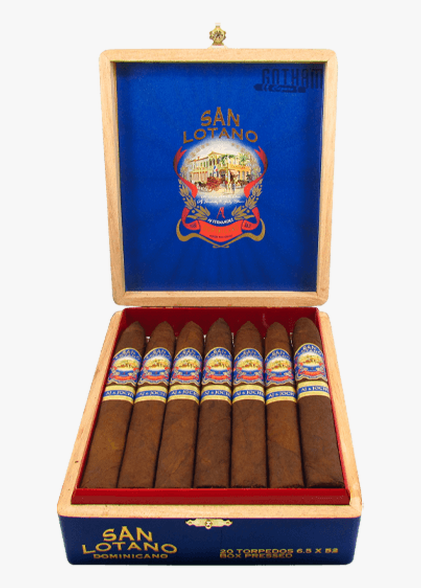 San Lotano Dominicano Cubra Brasil Torpedo Open Box - San Lotano Dominicano Torpedo Box Of 20, HD Png Download, Free Download