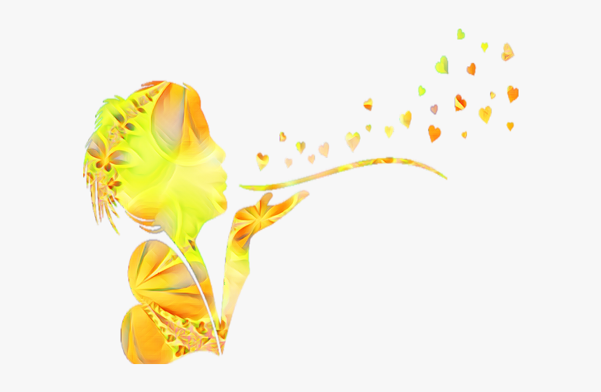 Yellow Ftestickers Girl Hearts Blow - Anthurium, HD Png Download, Free Download