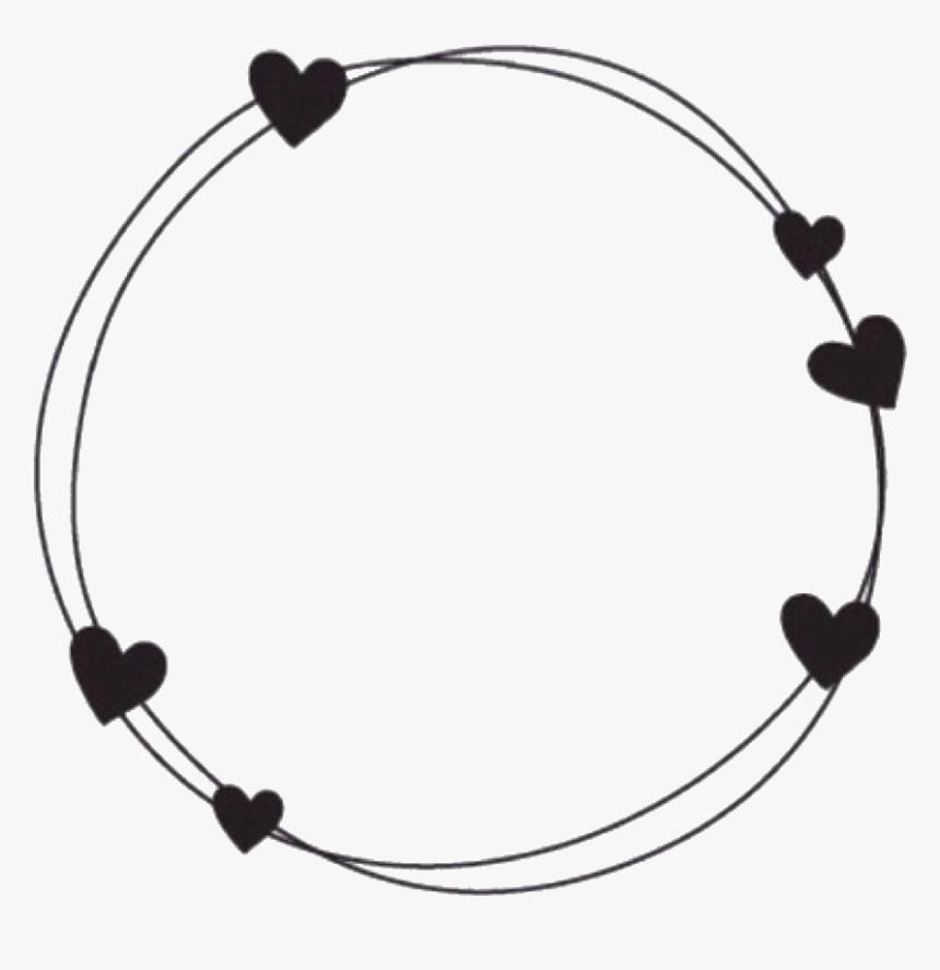 #circle #circleframe #frame #black #hearts #blackhearts - Black Frame With Hearts, HD Png Download, Free Download