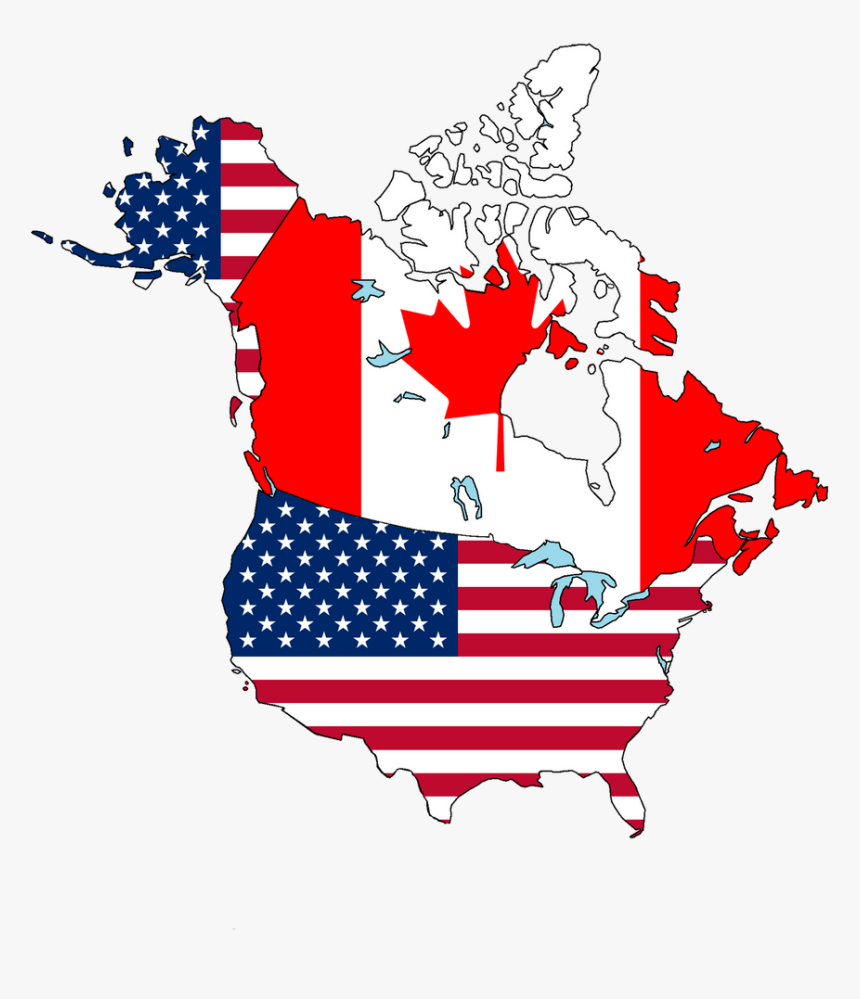 Canada And Usa Flag Map Canada To Usa Shipping   Andrews Field, HD Png Download   kindpng