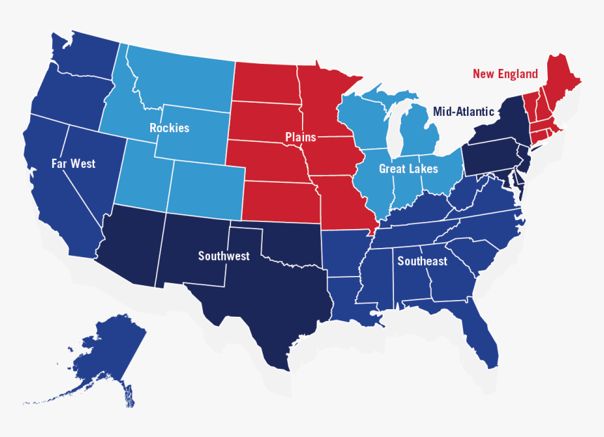 Illustrated Red And Blue Map Of The United States With - Us ...