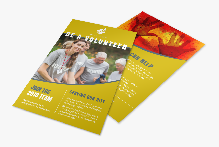 Be A Volunteer Church Flyer Template Preview - Flyer, HD Png Download, Free Download
