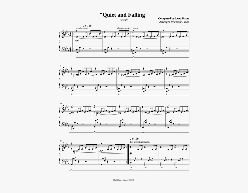 Celeste Quiet And Falling Sheet Music, HD Png Download, Free Download