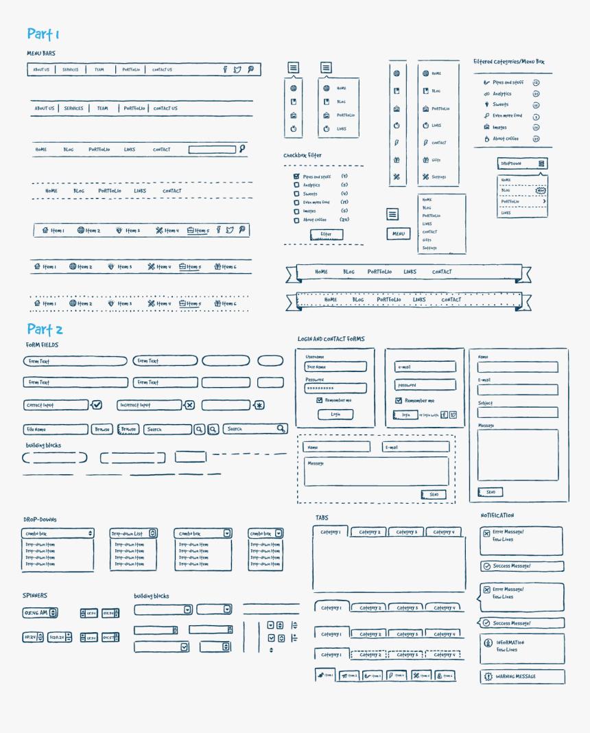 Jolly Ui Hand-drawn Ui Kit Preview - Hand Drawn Ui Kit Sketch, HD Png Download, Free Download