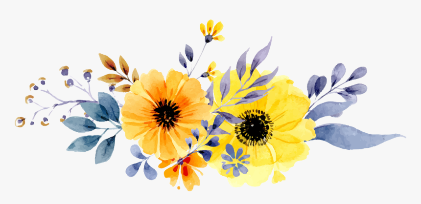 Transparent White Flower Border Png - Yellow Watercolor Flowers Png, Png Download, Free Download