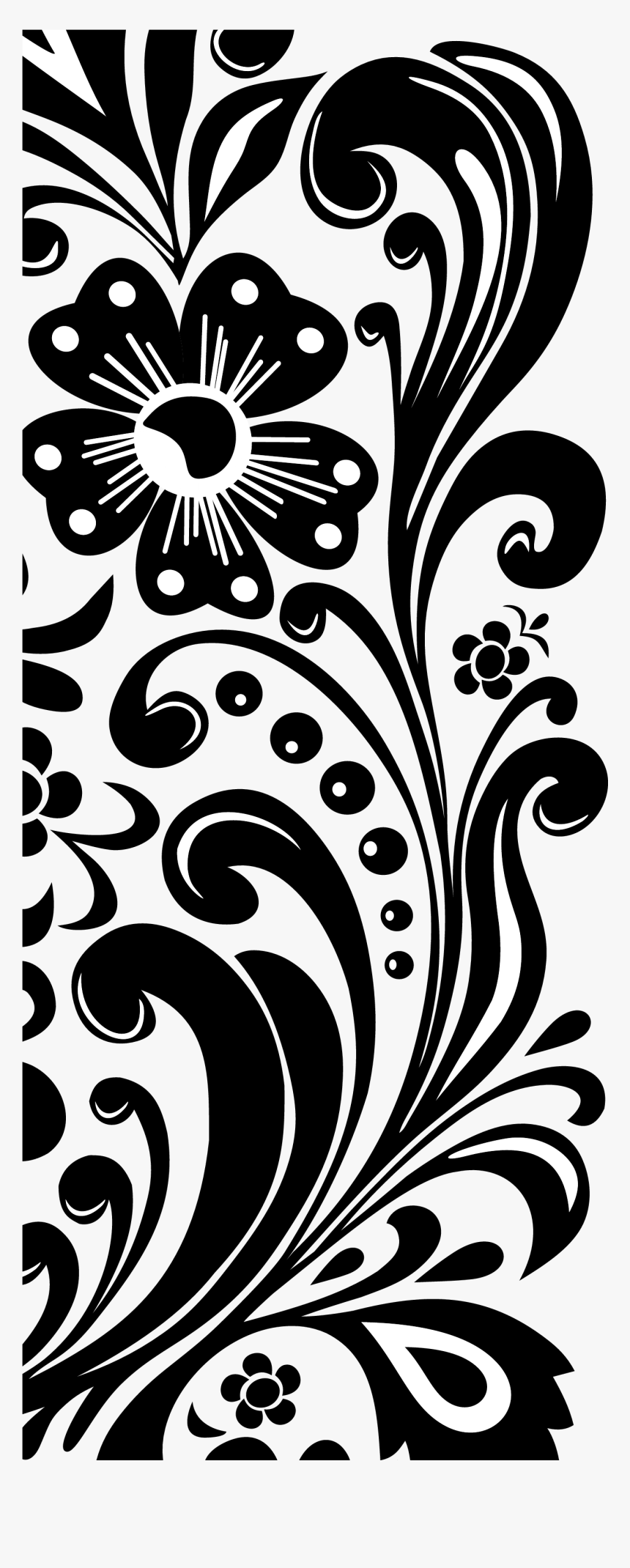 Transparent Lace Clip Art - Clipart Flower Border Black And White, HD Png Download, Free Download