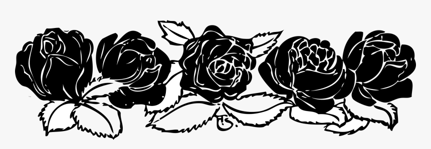 Black Rose White Download Rose Clip Art Border- - Rose Clip Art Black And White Border, HD Png Download, Free Download