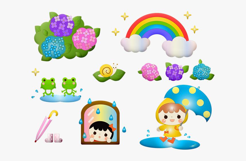 Kawaii Frog, Rainy Season, Japanese, Seasonal, Asian - Japanese Cute Seasons Cartoon Border Clipart, HD Png Download, Free Download