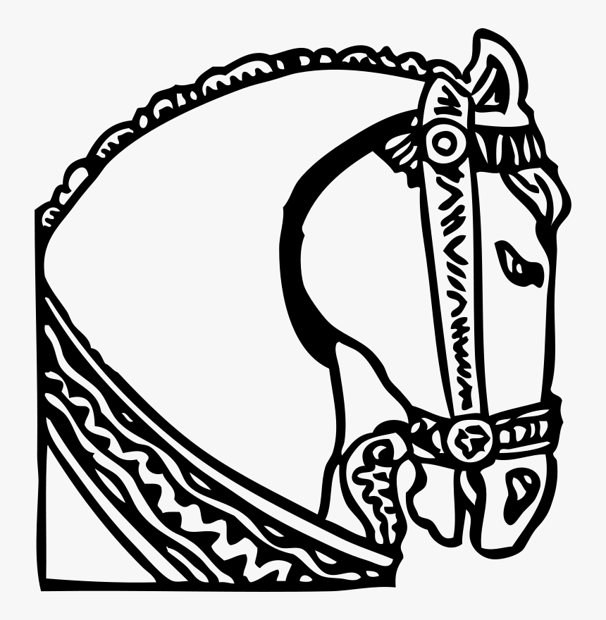 Horse Head - Drawing Medieval Horse Head, HD Png Download, Free Download
