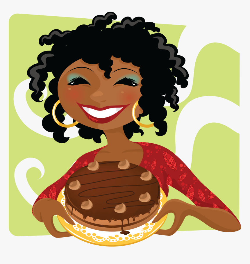 Woman With Cake Mulher Fazendo Bolo Desenho Hd Png Download