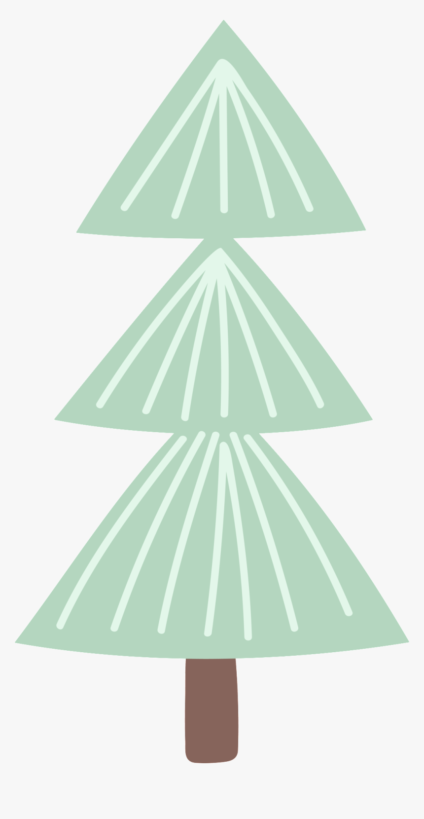 Triangle Branch Christmas Cartoon Transparent - Christmas Tree, HD Png Download, Free Download