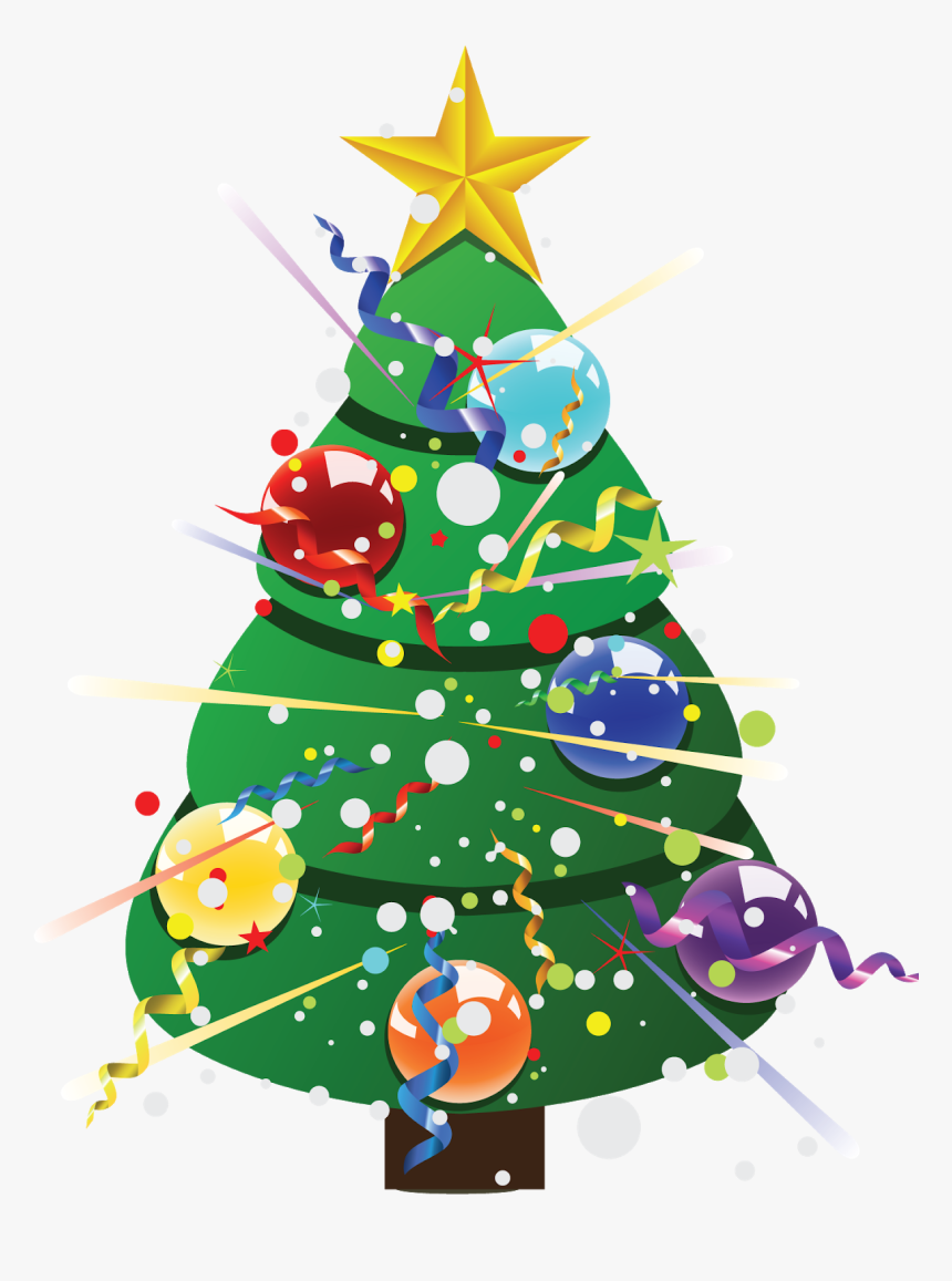 Decorated Christmas Tree Vector, HD Png Download, Free Download