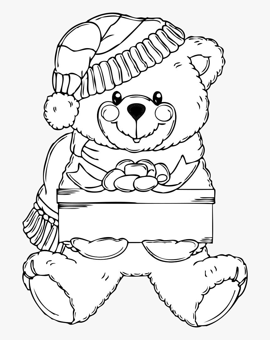 Christmas Bear Coloring Page - Christmas Teddy Bear ...